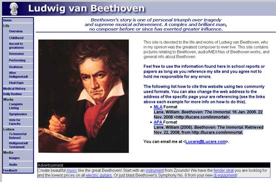 An interesting Beethoven website
